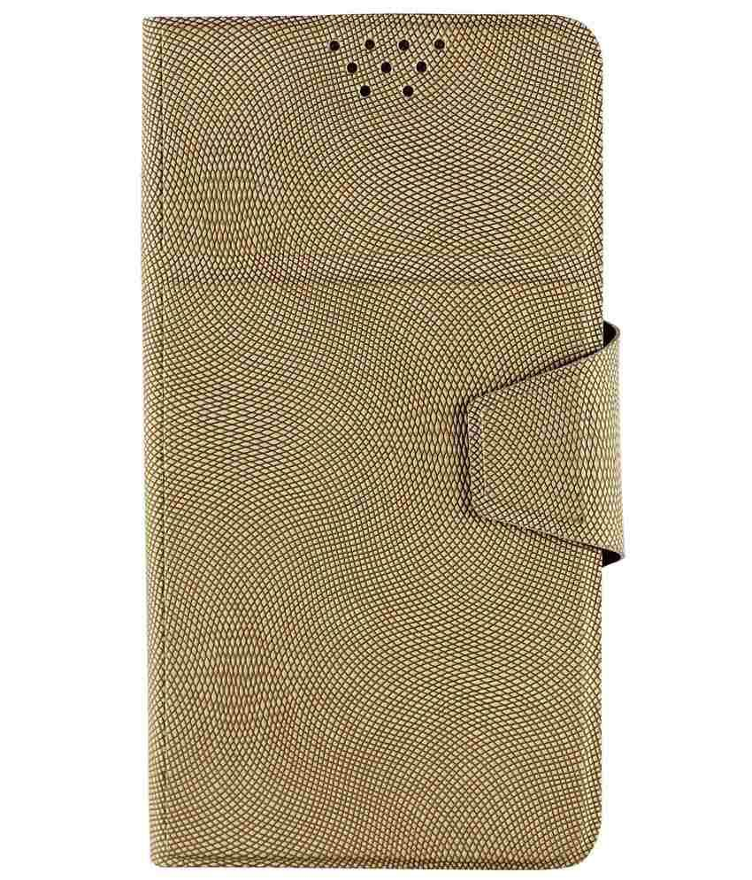 Molife Golden Universal Flip Cover Case For Alcatel One Touch Scribe Easy 8000D
