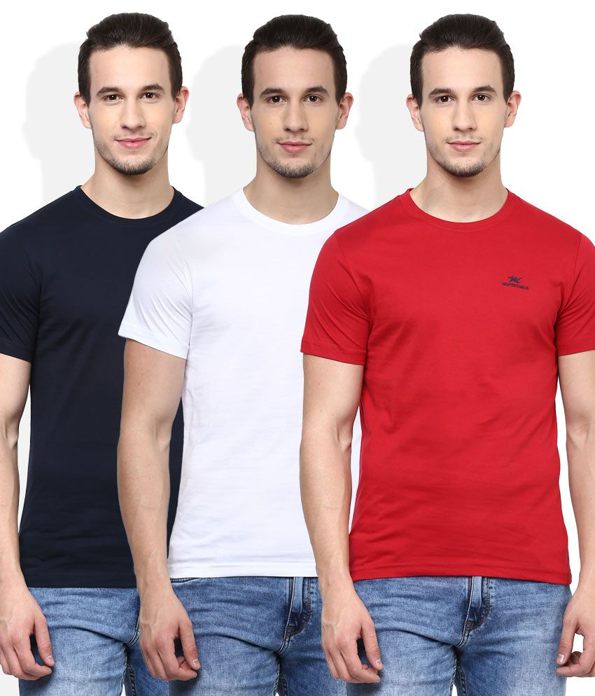 Monte Carlo Multi Color Half Sleeves Solids Round Neck Pack of 3 T-Shirt