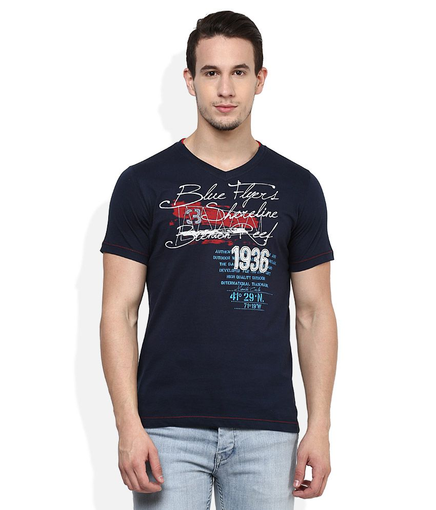 Monte Carlo Navy V-Neck T-Shirt