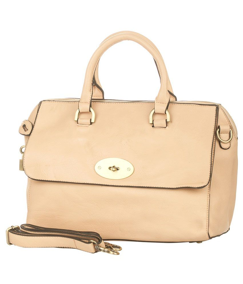 Vero Couture Beige P.U. Shoulder Bag