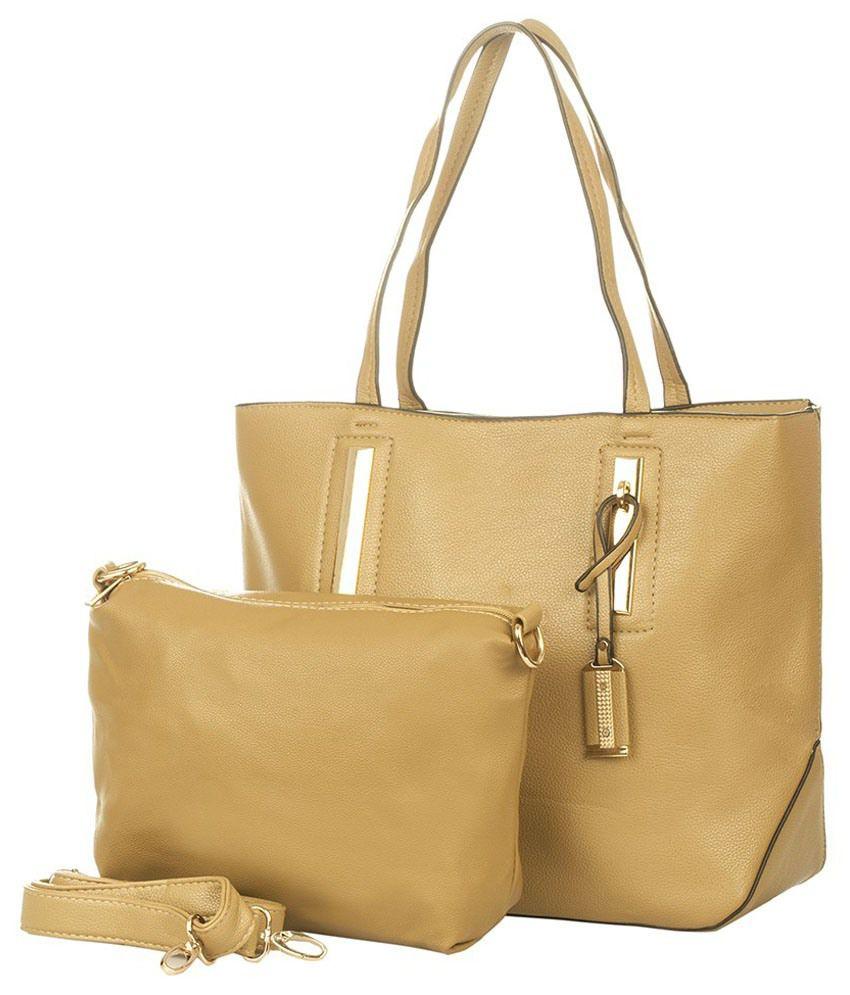Vero Couture Tan P.U. Tote Bag