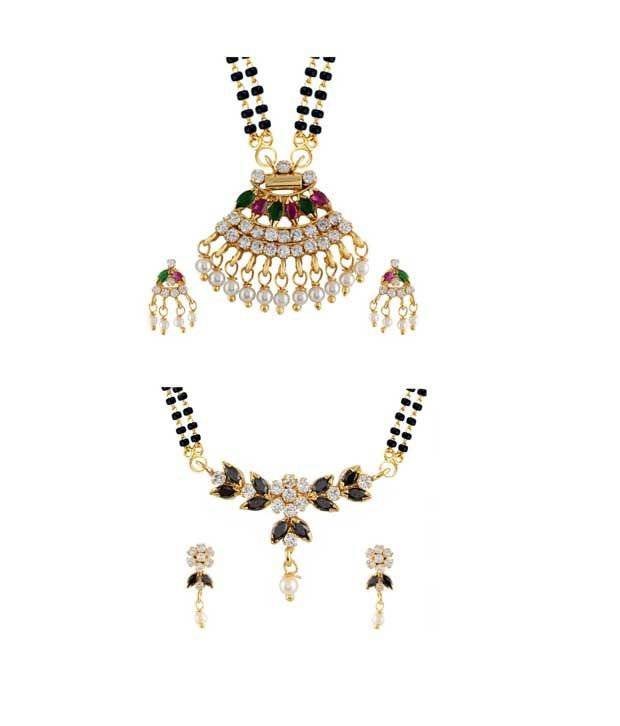 Archi Collection Golden Alloy Mangalsutra Set - Pack Of 2