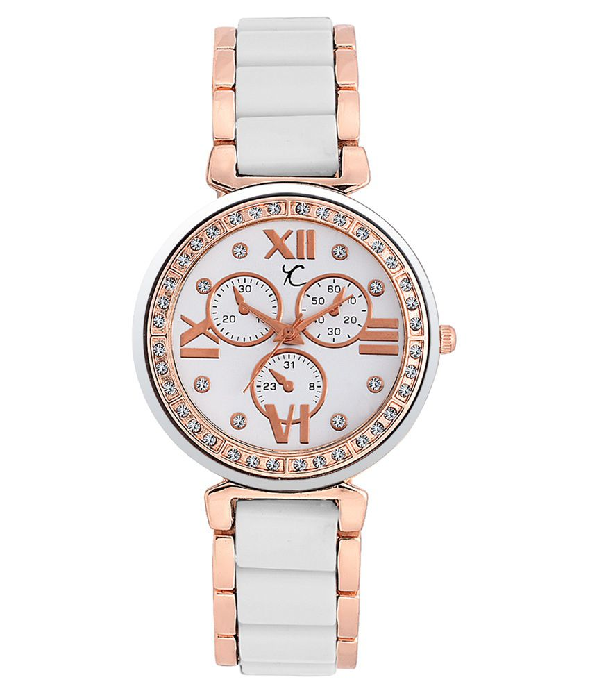 Youth Club White and Golden Analog Casual Watch