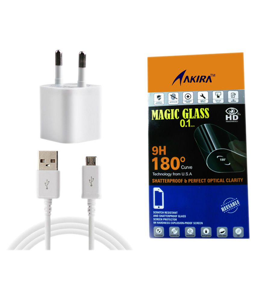 Akira Screen Guard for Micromax Canvas Nitro 4G E455 with White Wall Charger
