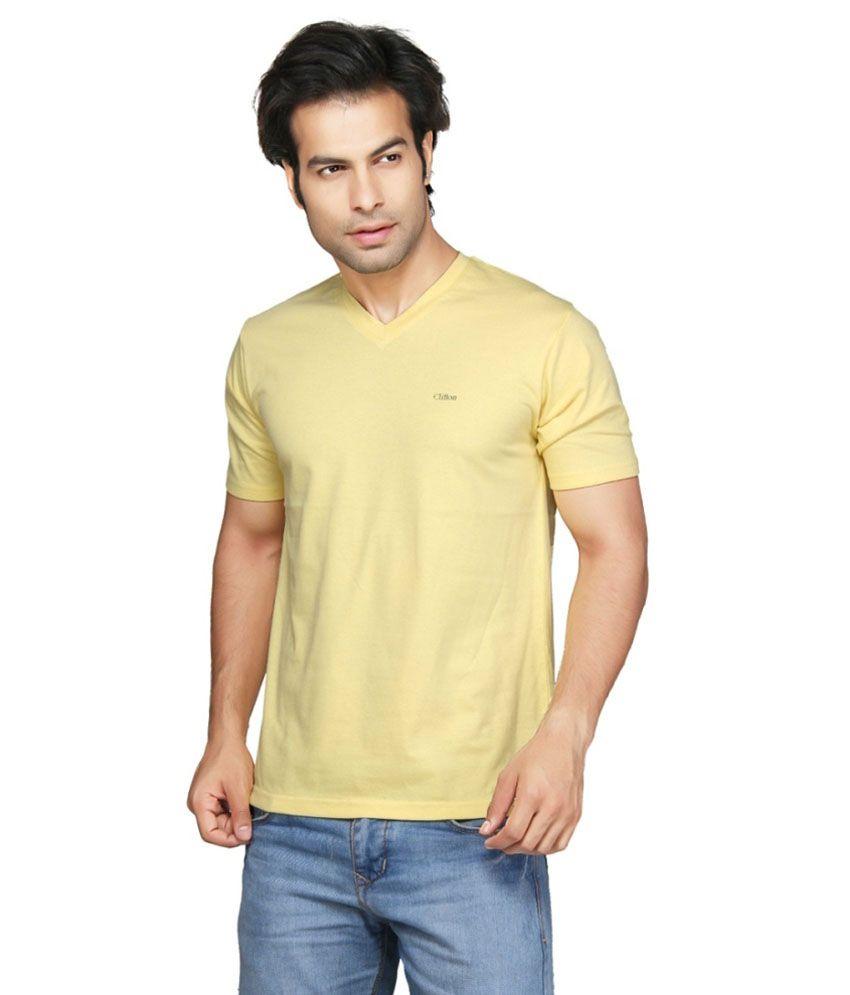 Clifton Fitness Men's V-Neck T-shirt -Yellow