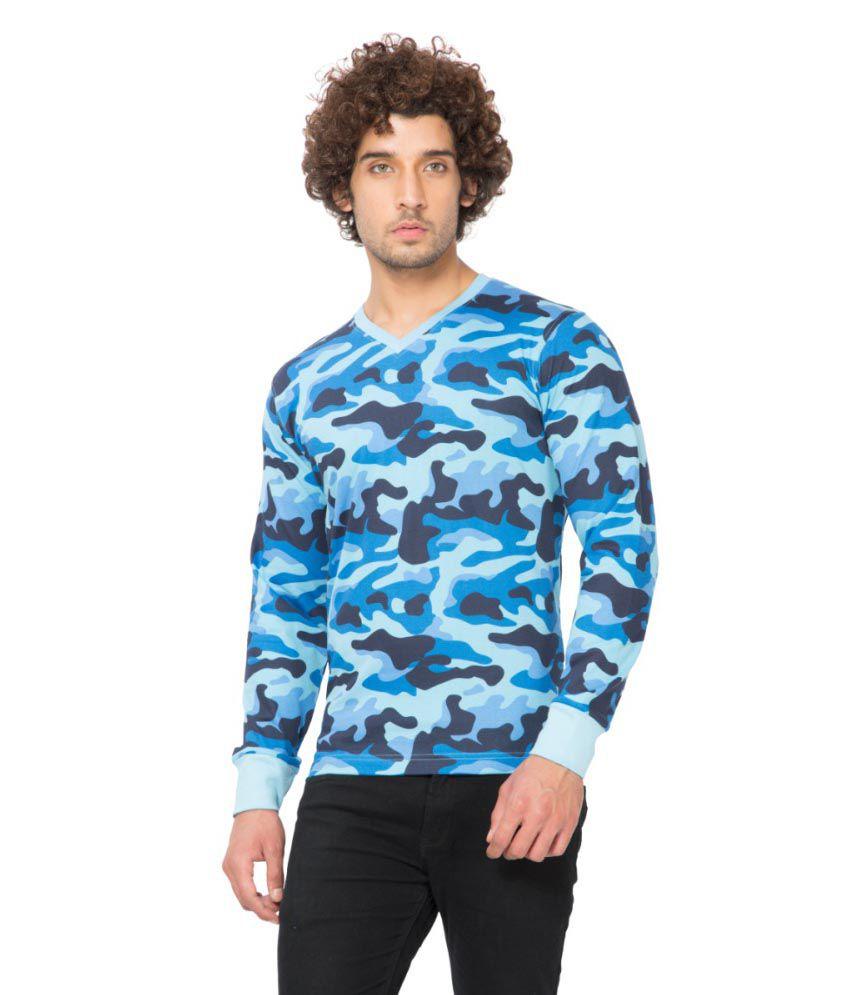Clifton Fitness Men's Army V-Neck Full Sleeve T-shirt -Light Blue