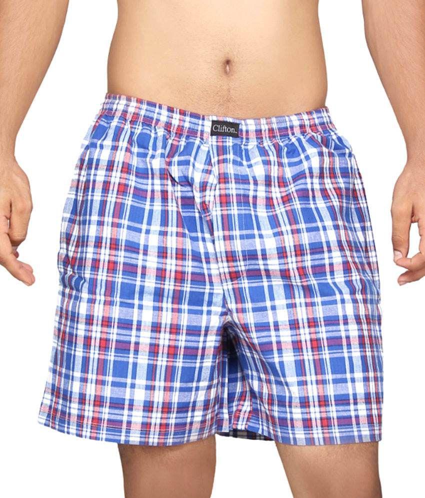 Clifton Fitness Men's Boxer -Blue Red Checks