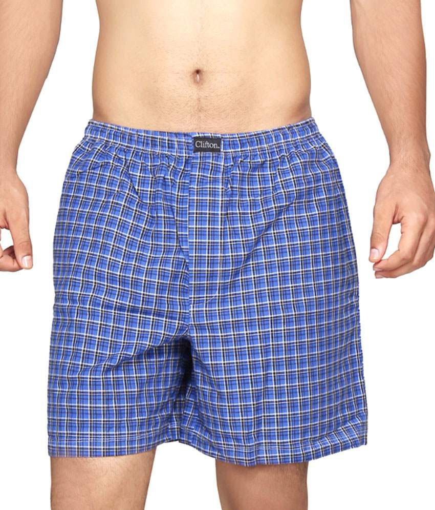 Clifton Fitness Men's Boxer -Royal Blue Checks