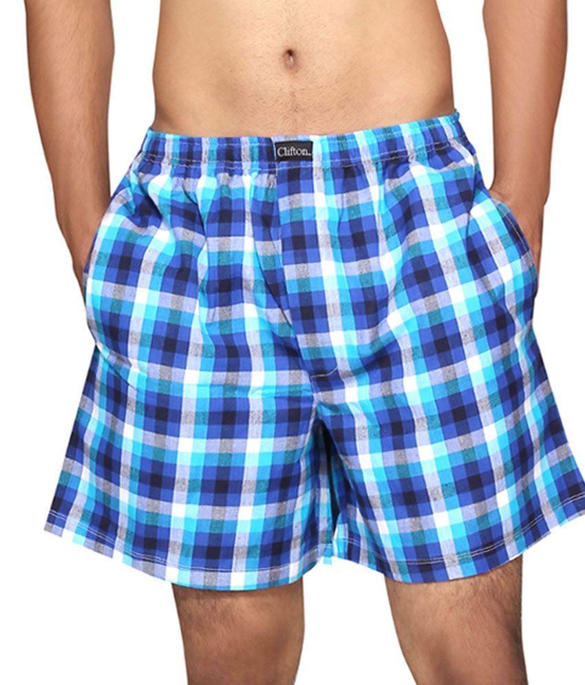 Clifton Fitness Men's Boxer -Royal Blue White Checks