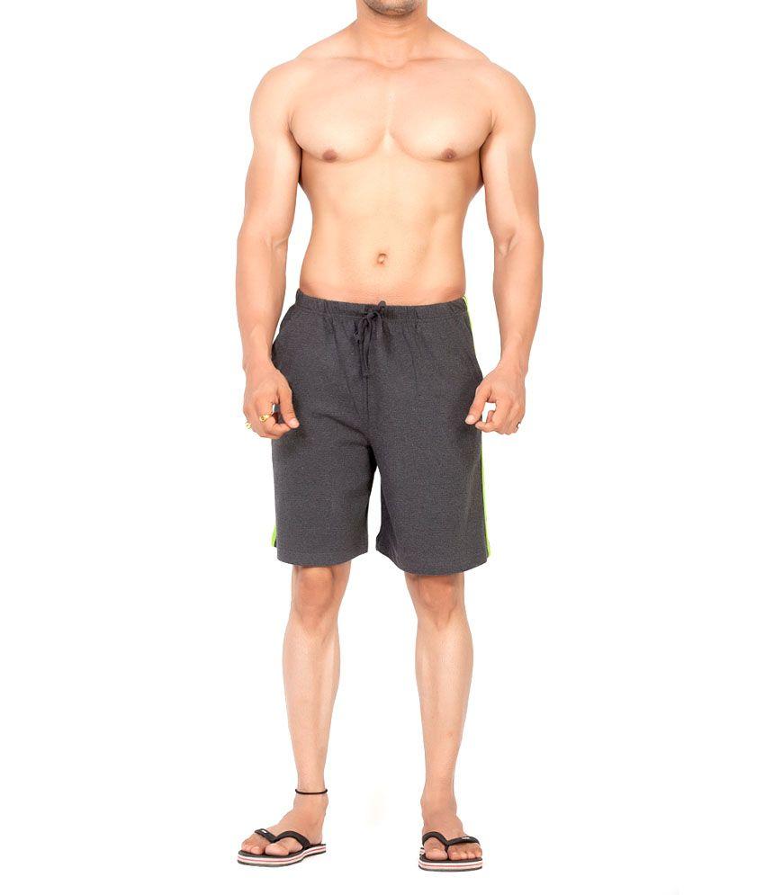 Clifton Fitness Men's Shorts Stripes -Charcoal/Parrot Green
