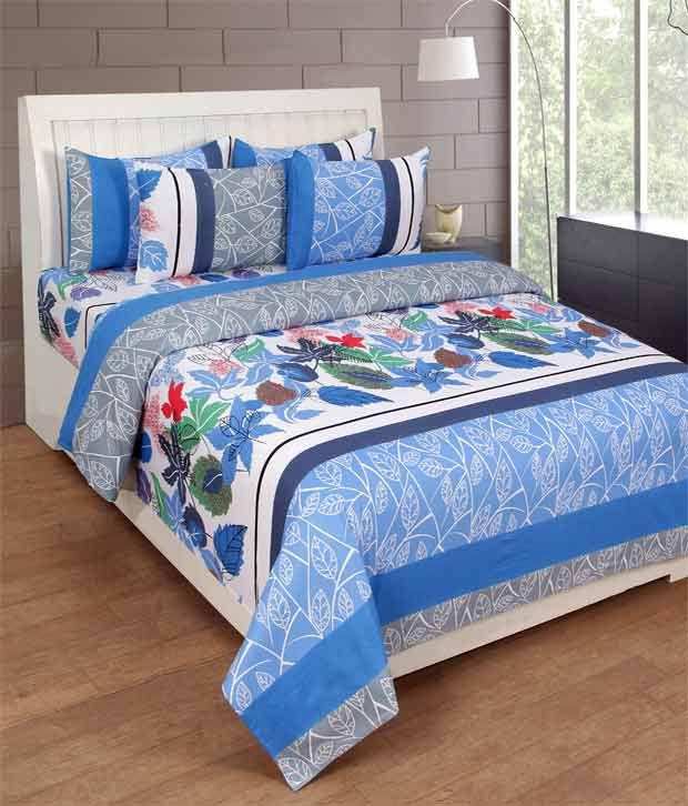 Paisa Worth Multicolour Floral Cotton Double Bedsheet