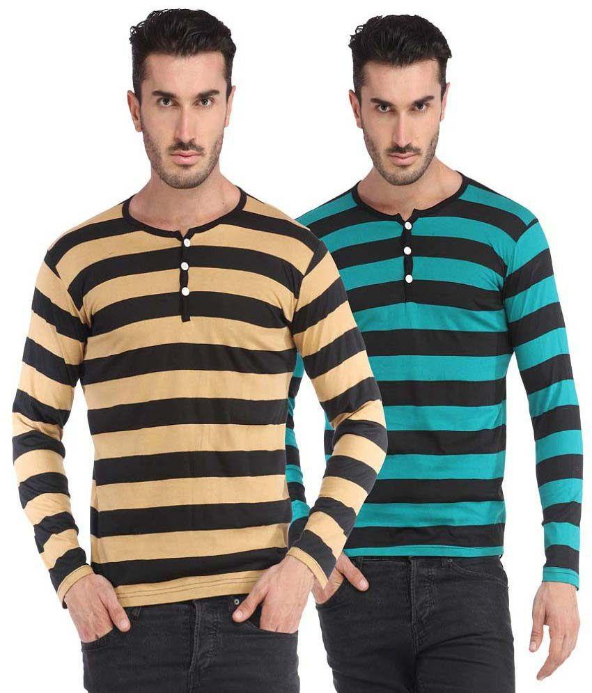 Leana Multi Henley T Shirts Yes
