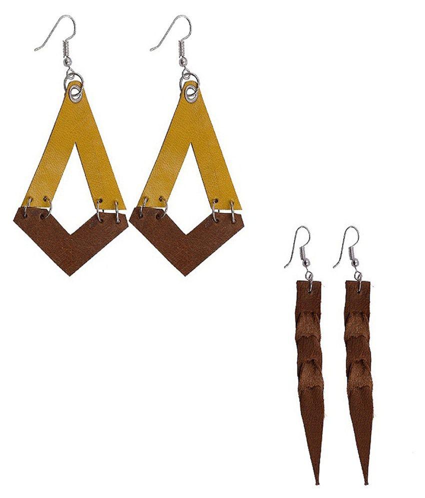 Gentleman Brown & Yellow Hanging Earrings Pack Of 2