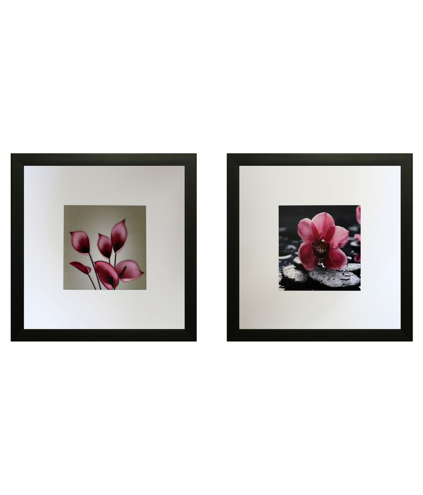 SAF Textured Wooden Floral Painting With Frame-Set of 2