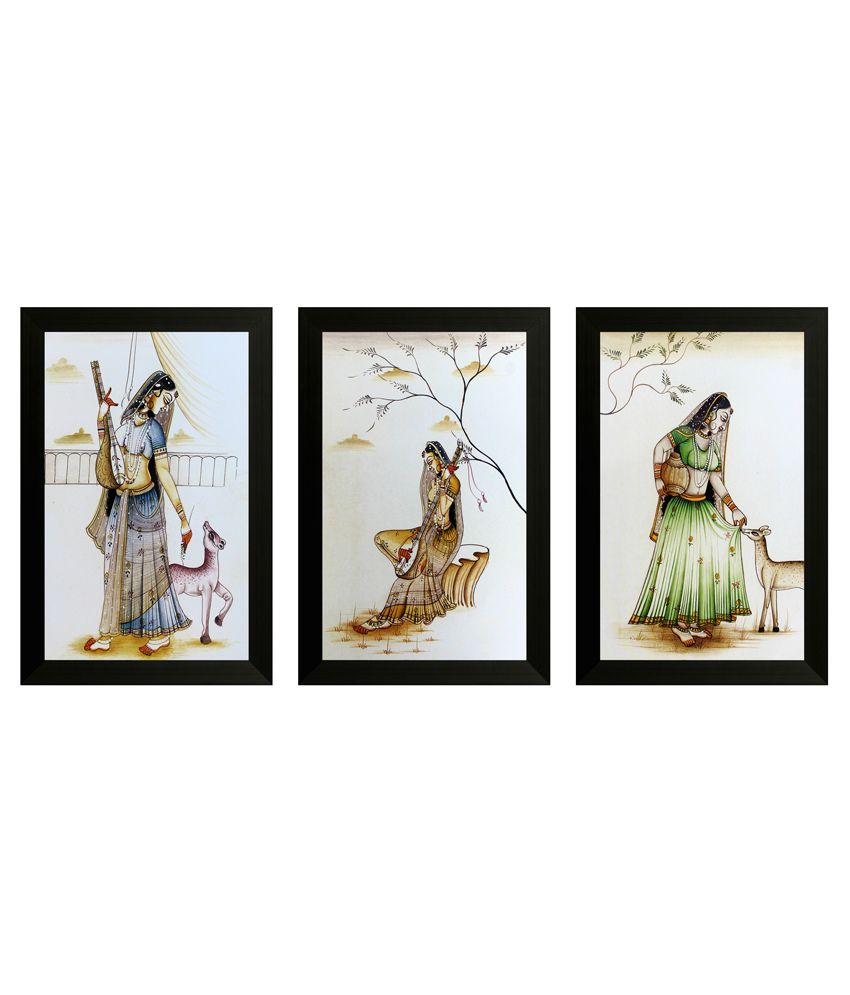 SAF Textured Wooden Folk Art Painting With Frame -Set of 3