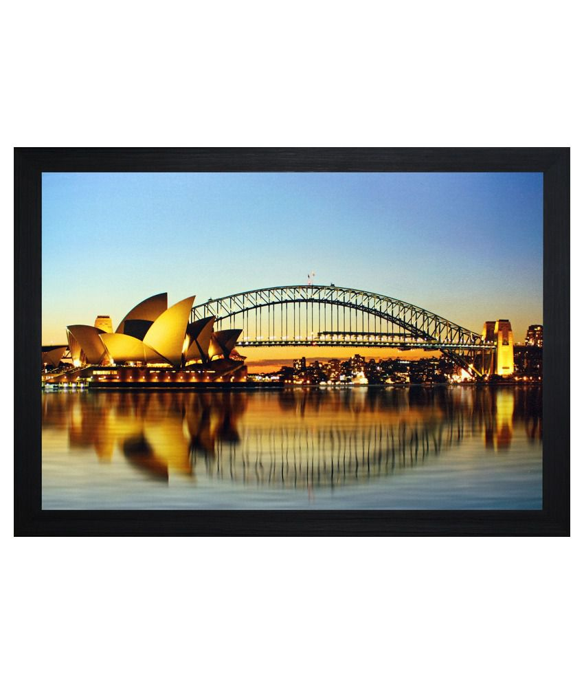 SAF Textured Wooden Architecture Painting With Frame