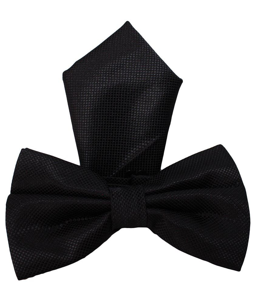U.S. Polo Assn. Black Silk Combo Of Bowtie & Pocket Square