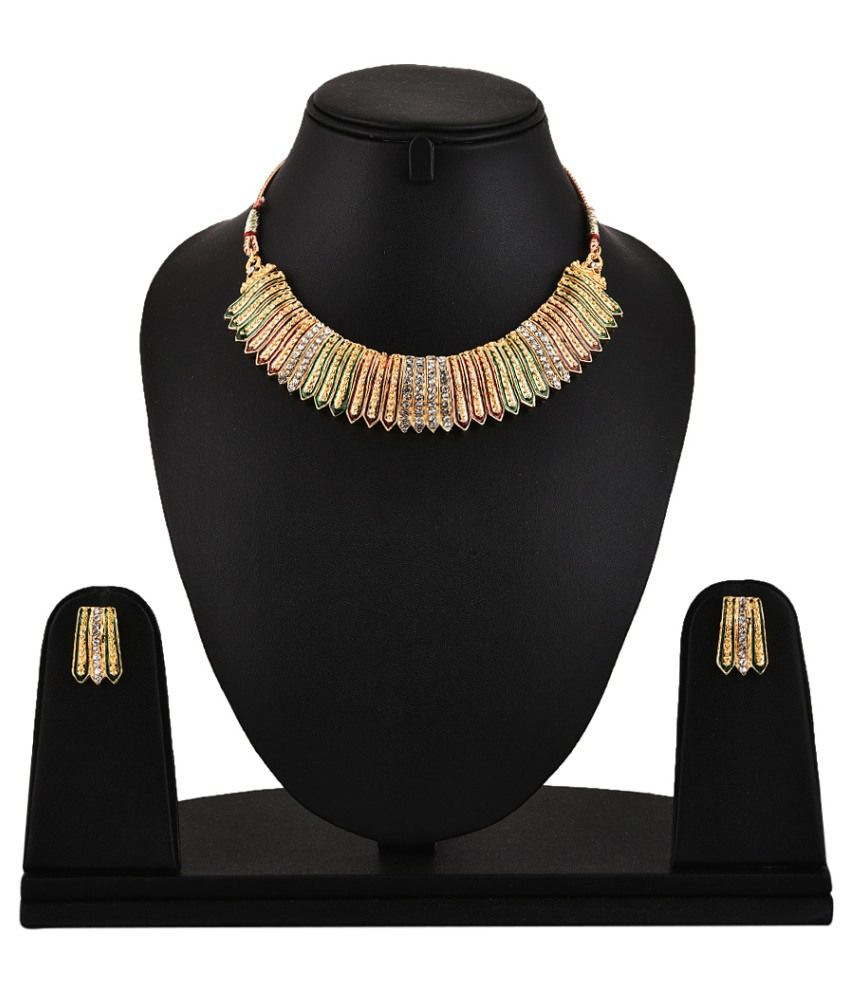 Zeneme Antique Necklace Set With Earring
