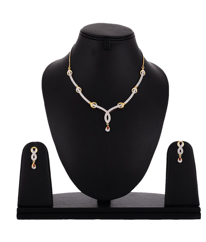 Zeneme Gold Plated White American Diamond Studded Elegant Necklace Set
