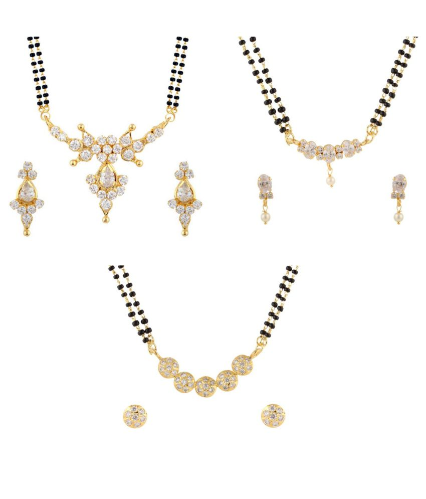 Archi Collection Golden Contemporary CZ Alloy Mangalsutra Set (Set of 3)