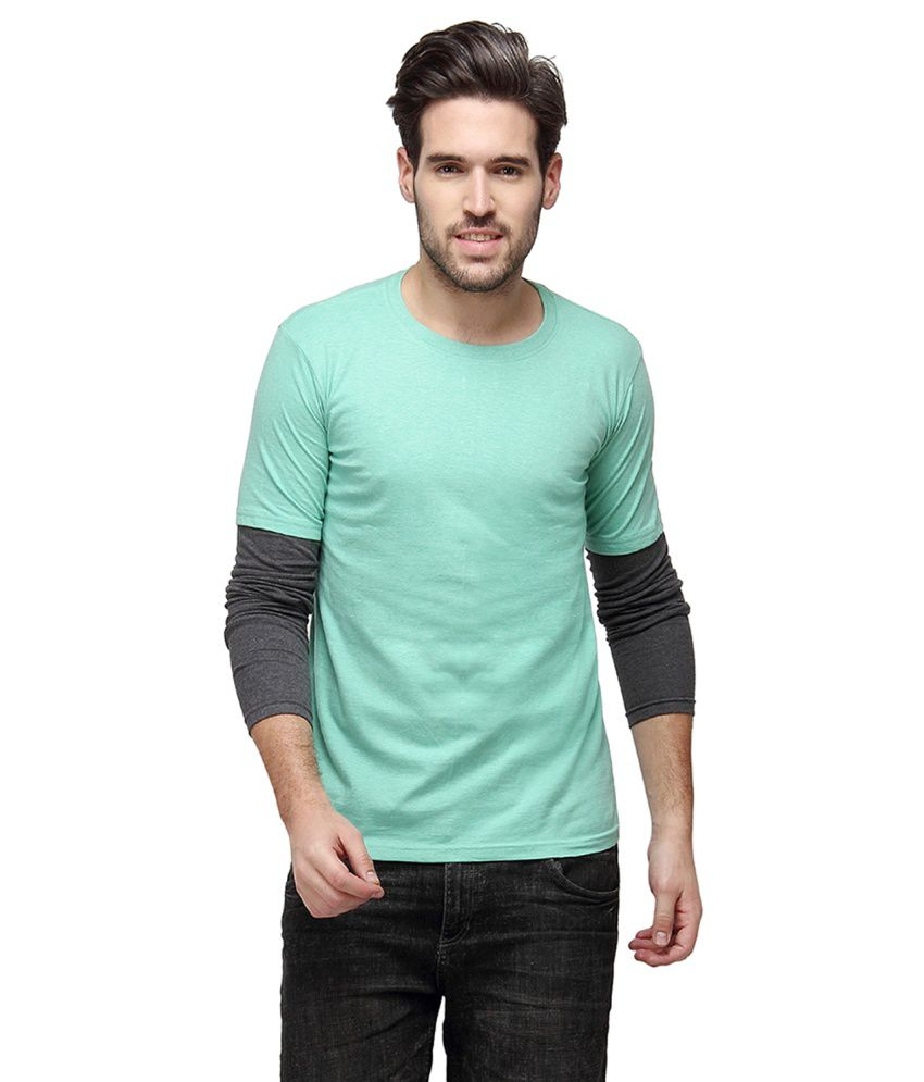 Campus Sutra Green Round T Shirts Single
