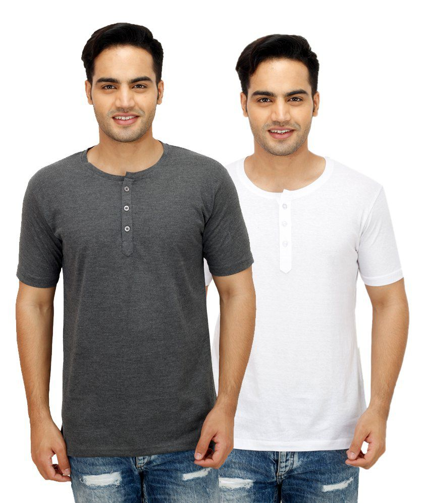 Christy World White Henley T Shirts With Grey T-Shirt