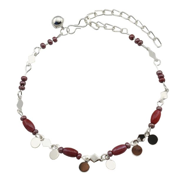 High Trendz Maroon Beads With Silver Circles
