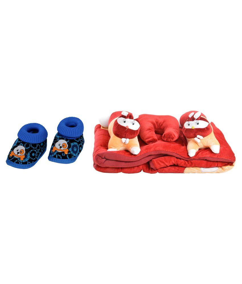 RSO Multicolour Cotton Bedding Set, Sleeping Bag and Baby Shoe - Set of 5