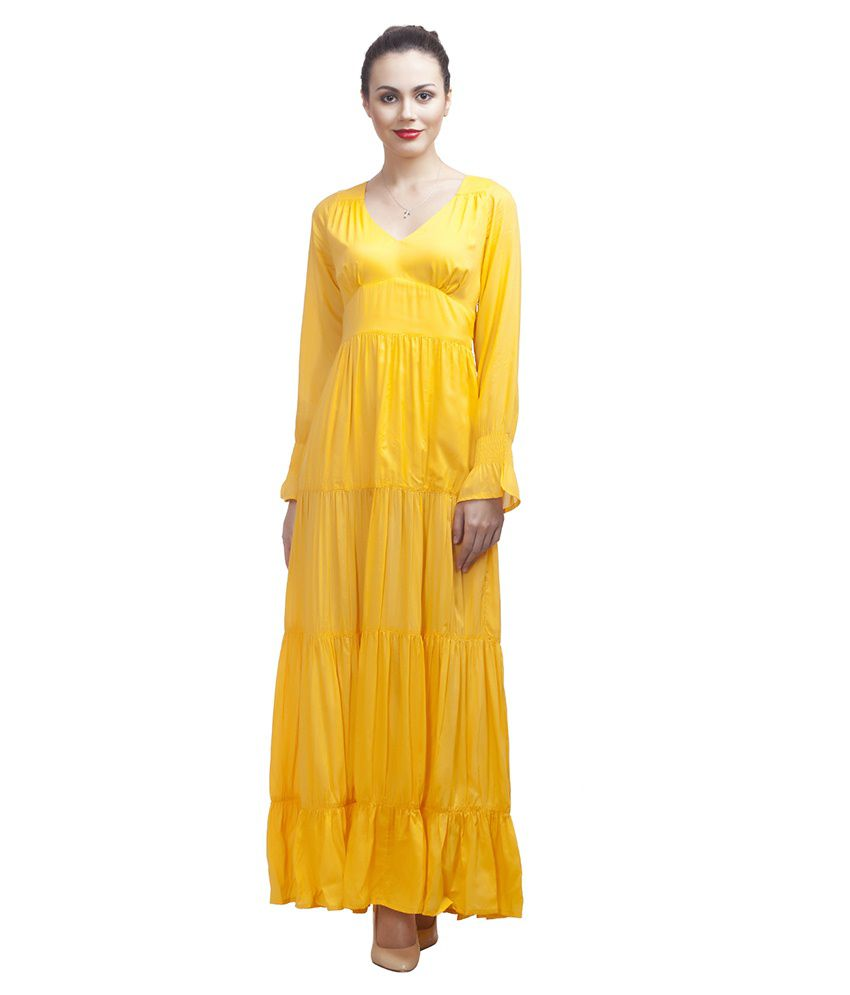 c522f8540ca312 Urban Rust Yellow Cotton Maxi Dress - Buy Urban Rust Yellow Cotton Maxi  Dress Online at Best Prices in India on Snapdeal