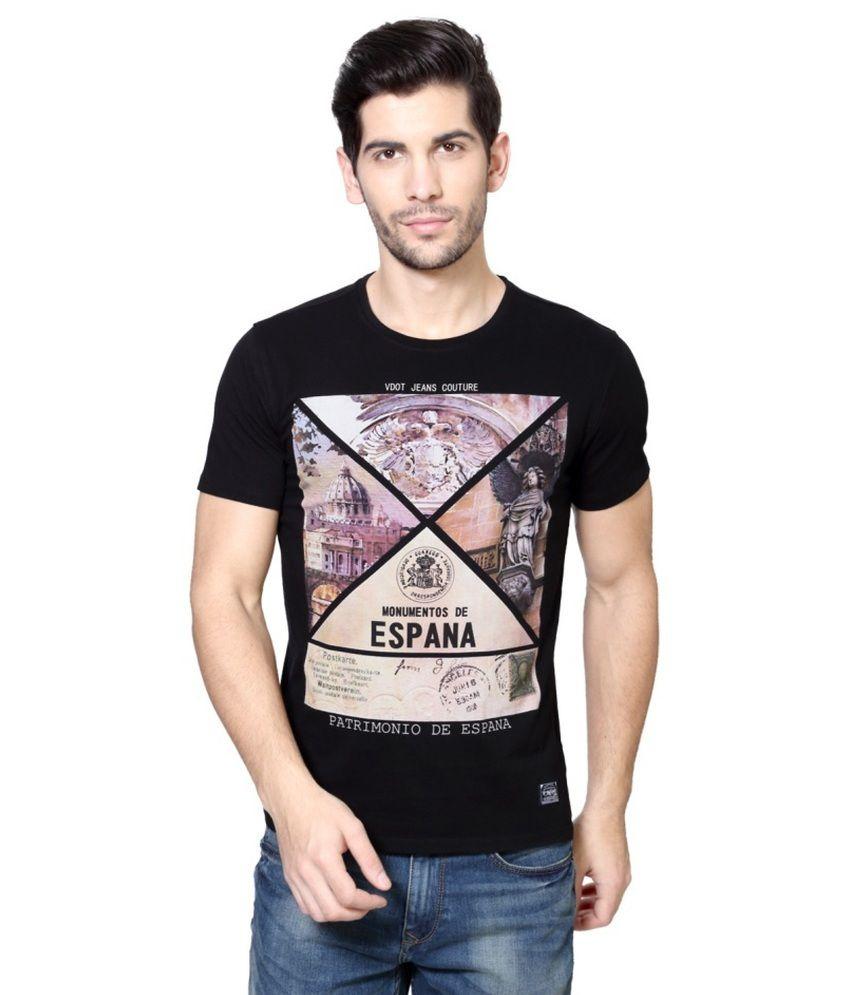 Van Heusen Black Round T Shirts