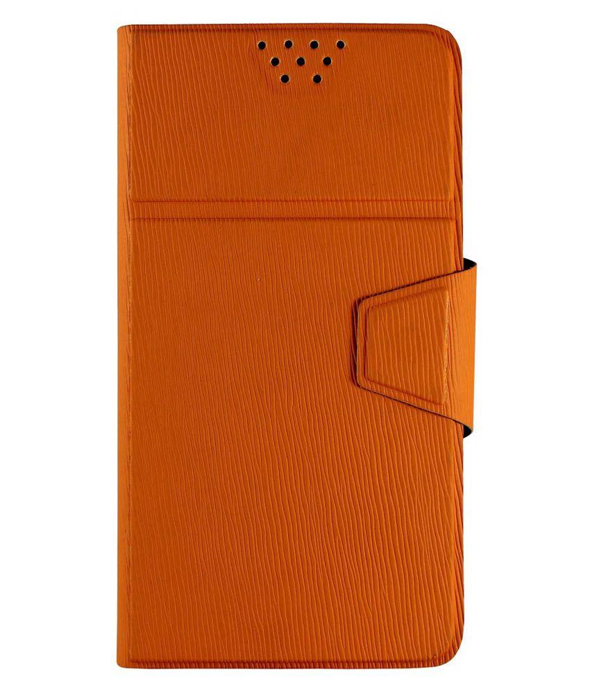 Molife Universal Flip Cover For Zen Ultrafone 506 Pro - Orange