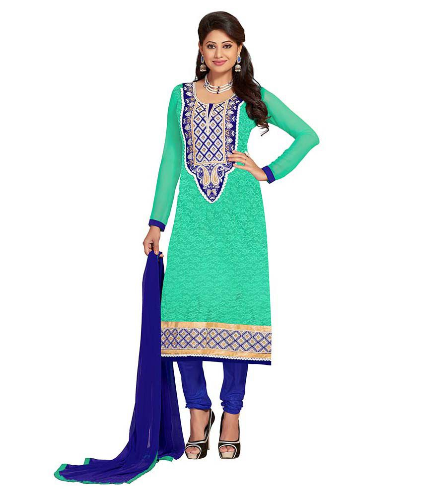 Vooga Green jacquard Straight Unstitched Dress Material