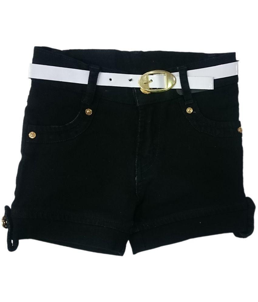 pink&white Black Denim Shorts