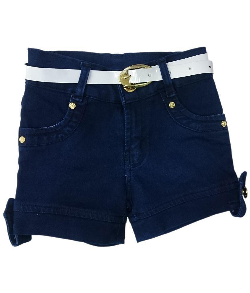 pink&white Blue Denim Shorts