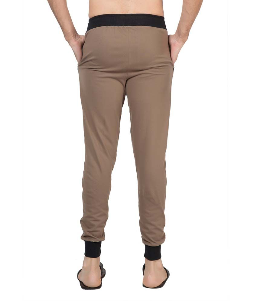 Clifton Fitness Men's Ribbed Slim Fit Track Pant -Walnut