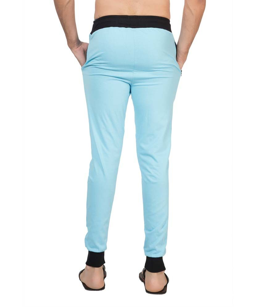 Clifton Fitness Men's Ribbed Slim Fit Track Pant -Light Blue