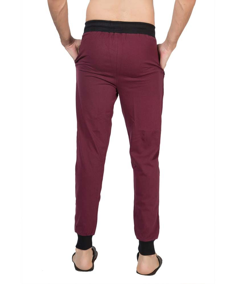 Clifton Fitness Men's Ribbed Slim Fit Track Pant -Dark Red