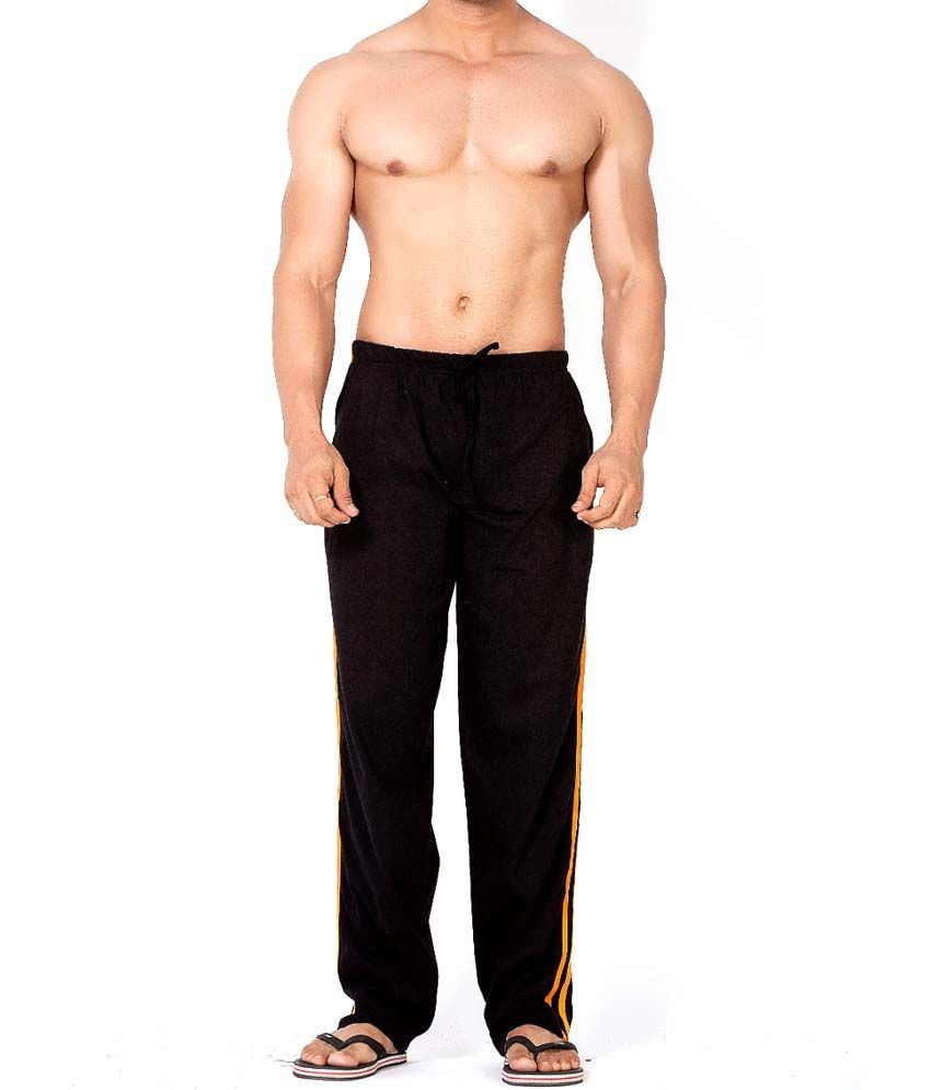 Clifton Fitness Men's Track Pant Striper -Black & Bright Orange