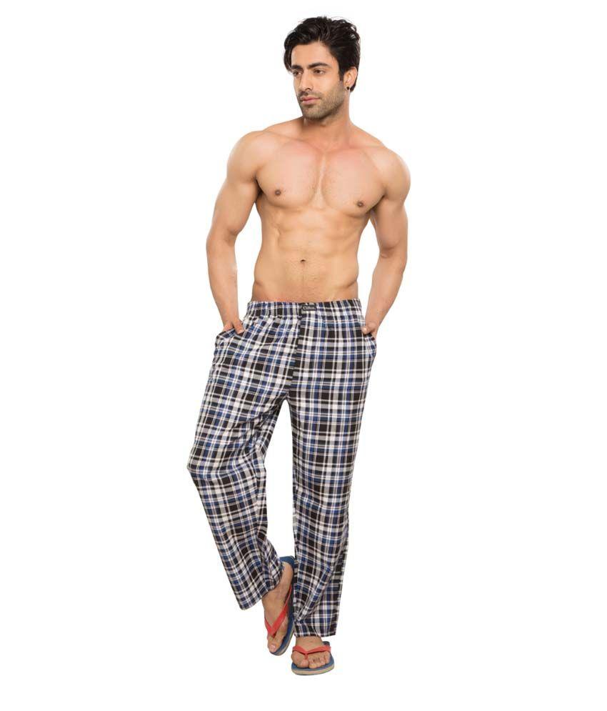 Clifton Men's Woven Pyjama -Navy & Blue Checks