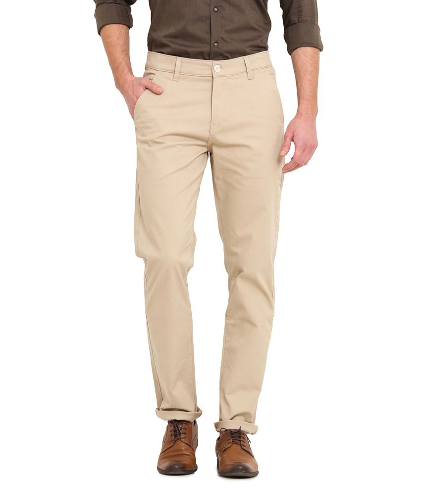 Ennoble Beige Slim Fit Chinos
