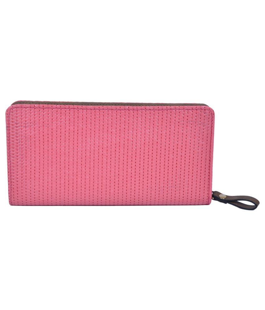 Leefaa Pink P.U Regular Wallet for Women