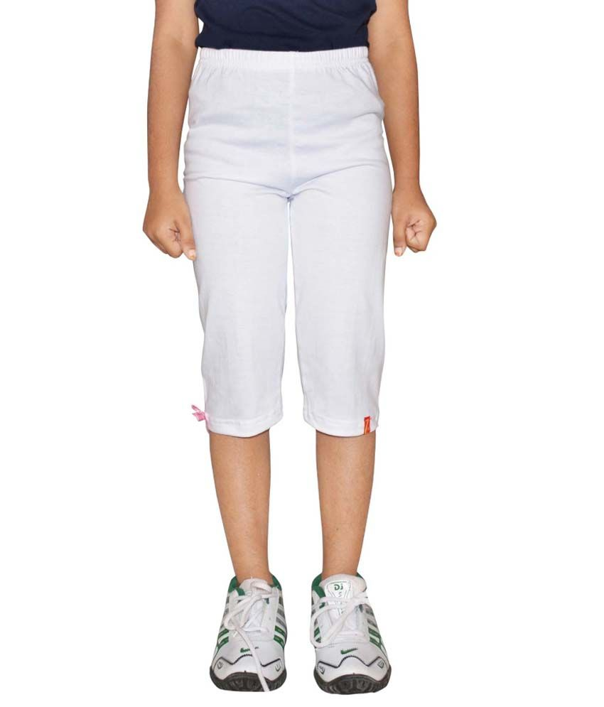 Metro Collections White Cotton Capris Pack of 2