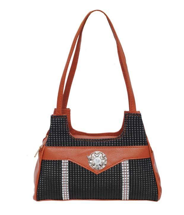 Carrolite Black P.U. Shoulder Bag
