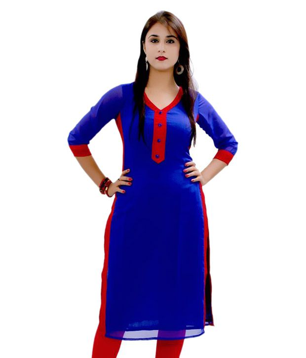 Envy Blue Straight Pure Georgette Kurti