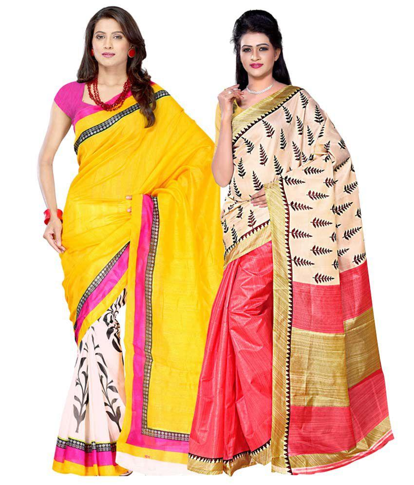 Ambaji Multicolour Bhagalpuri Pack of 2