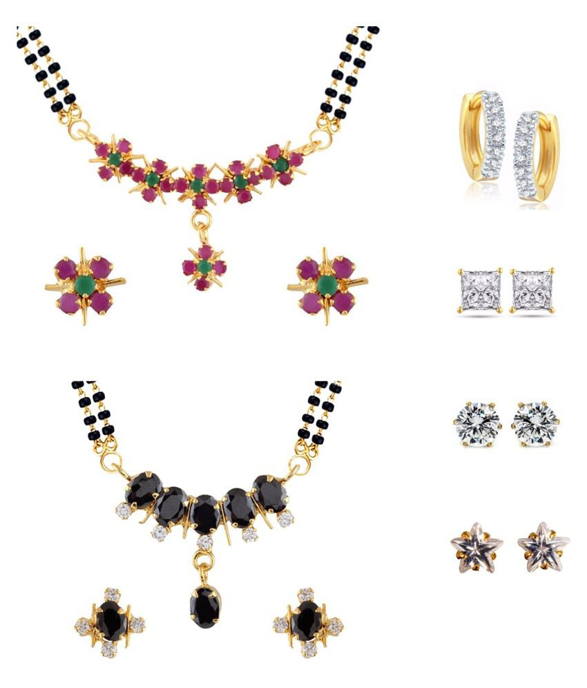Archi Collection Multicolour Combo Of 2 Mangalsutra Set With 1 Bali & 3 Stud Earrings