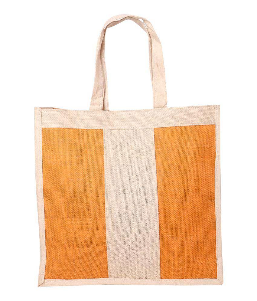 Globus Impressions Orange and Beige Velcro Utility Bag