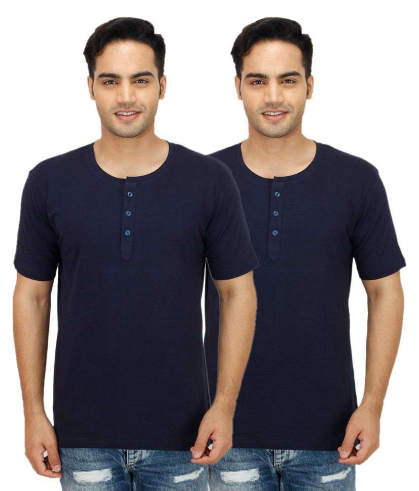 Ishmeet Navy Henley T Shirts Pack of 2