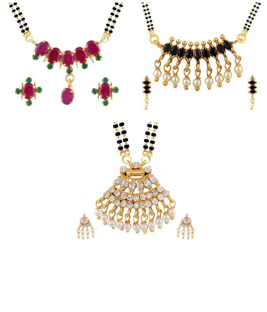 Parijaat Combo Of Gold Plated 3 Cz Mangalsutra Set For Women