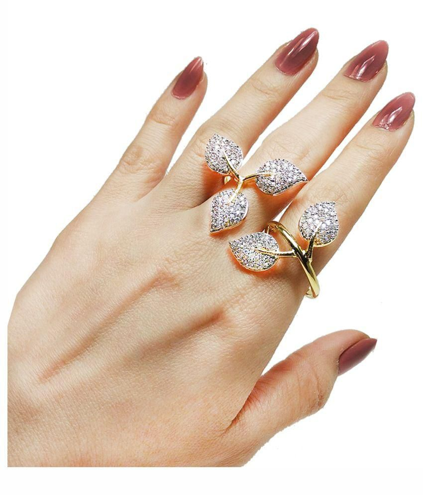 Geode Delight Leaf Design American Diamond Double Finger Ring: Buy ...